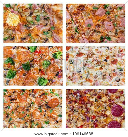 Set Background With Different Slices Of Pizzas