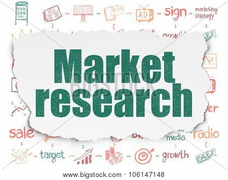 Advertising concept: Market Research on Torn Paper background