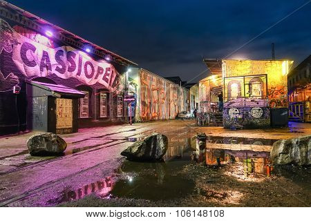 Berlin, Germany - October 21, 2015: Street Art Graffiti On The Wall Of Cassiopeia Club