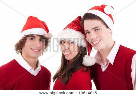 Happy Christmas Teens, Isolated On White Background, Studio Shot.