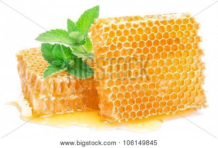 Honeycomb and mint on a white background.  High-quality picture.