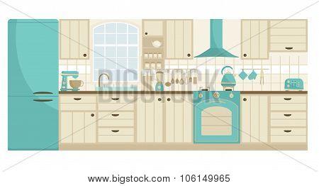 Biege kitchen furniture