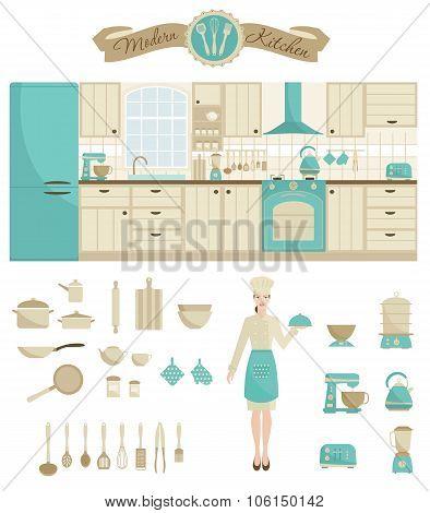 Set of kitchen  equipment.