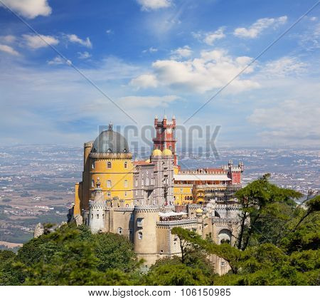 View Of Palace Da Pena. Sintra, Lisbon. Portugal. European Travel