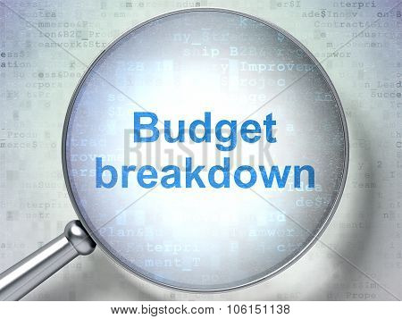 Finance concept: Budget Breakdown with optical glass
