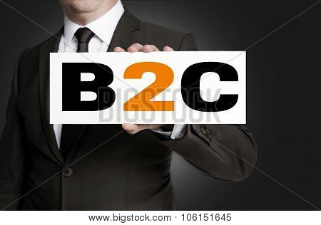 B2C Shield Of Businessman Held Concept
