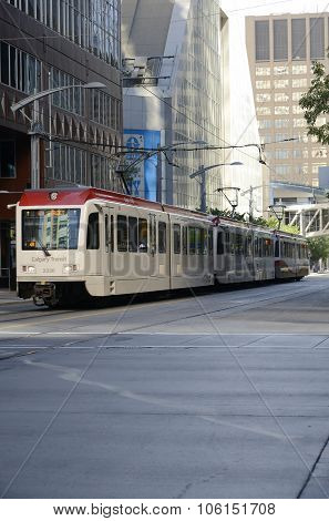 CALGARY, CANADA - August 17, 2013: C-Train in Calgary on August 17, 2013 in Calgary, Alberta. The C-