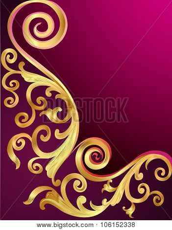 illustration background with gold pattern and whorl