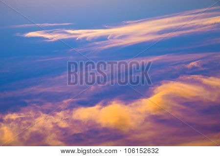 Beautiful Crimson Sunset. View Above The Clouds