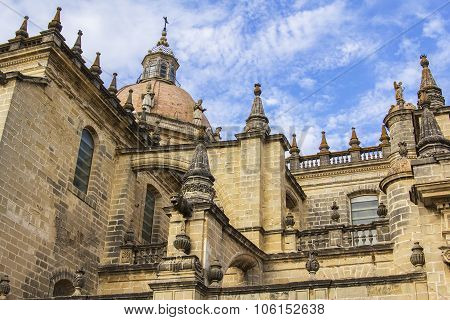 background view of the monument of ancient architecture Cathedral of Jerez de la Frontera
