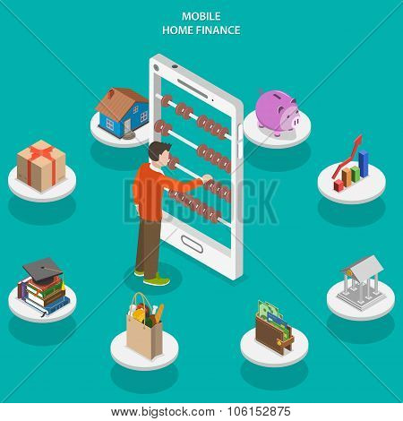 Home finance flat isometric vector concept.
