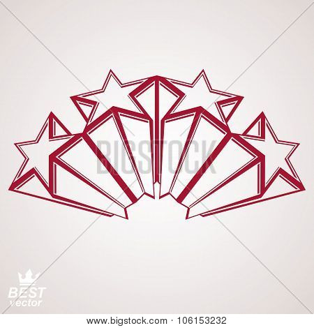 Vector Corporate Design Element, Celebrative Perspective Stars Web Emblem. Union And Solidarity Them