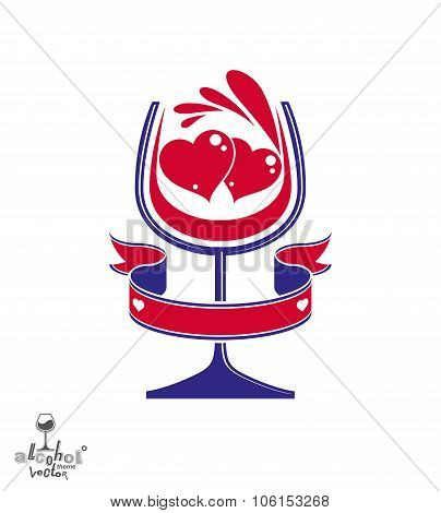 Vector Festive Illustration Of A Goblet With Wine Splash – Party And Leisure Conceptual Graphic Elem