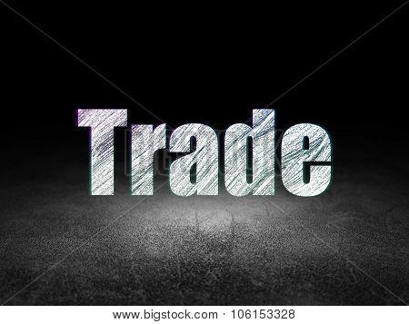Finance concept: Trade in grunge dark room