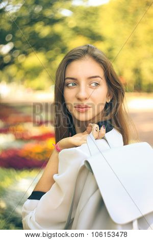 Pretty Student Girl With Bag Glanced Over Her Shoulder