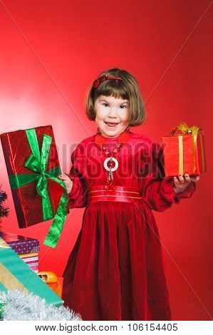 Smiling child with gifts