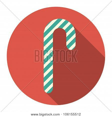 vector round flat icon with christmas candy