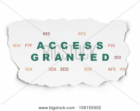 Privacy concept: Access Granted on Torn Paper background