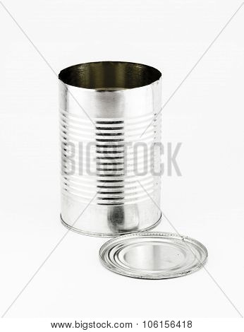 Open Tin Can And Cap On White Background