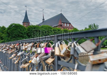 Locks of love Medovy Bridge. Kaliningrad. Russia