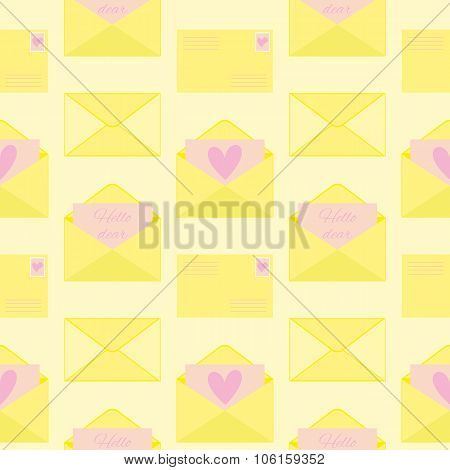 Seamless Pattern With Envelopes With Love Letters