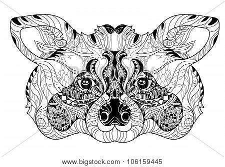 Zentangle  raccoon head doodle hand drawn.