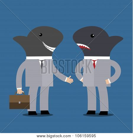 Concept of business shark