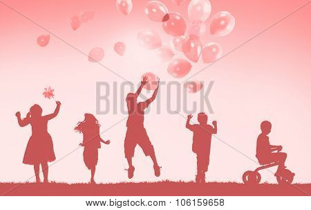 Group of Children Freedom Happiness Imagination Innocence Concept