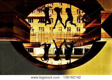 Three Girls Jump Up Under The Bridge