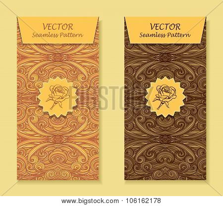 Set Vertical banners with abstract waves in beige brown