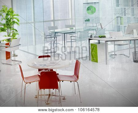 Green Office Meeting Room Working Area Business Concept