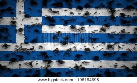 Flag of Greece, Greek flag painted on wall with bullet holes