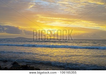 Yellow Sunset And Soft Waves At Beal Beach