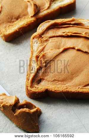 Sweet food. Delicious peanut butter toast