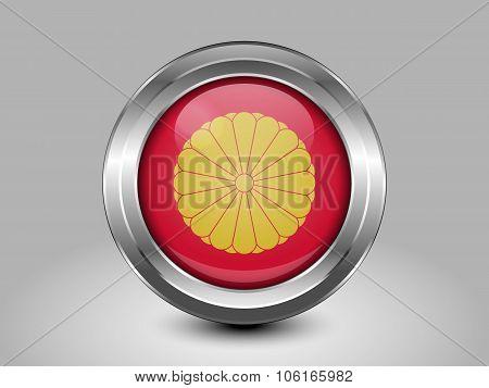Flag Of Japan. Metal Round Icon
