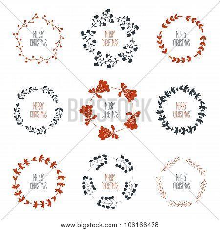 set of nine christmas floral wealths