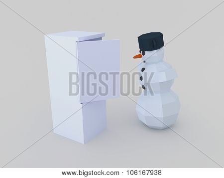 Snowman Open Fridge