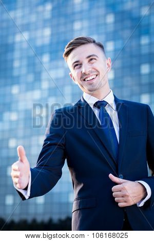 Businessman Greeting With Somebody