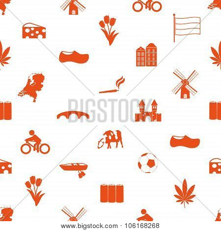Netherlands Country Theme Icons Set Seamless Pattern Eps10