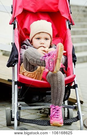Toddler Girl  In The Stroller