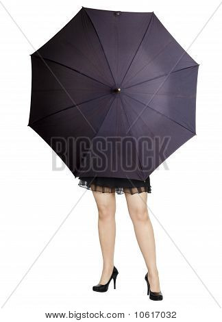 Beautiful Girl Hiding Behind A Umbrella
