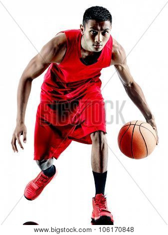 one caucasian man basketball player isolated in silhouette white background