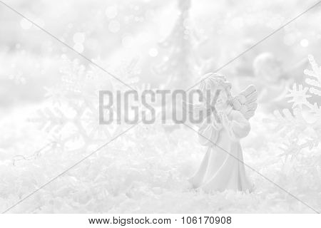 christmas decorations with baubles on wooden background