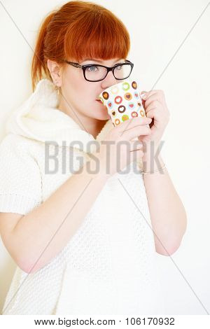 Redhead  Woman  With Cup
