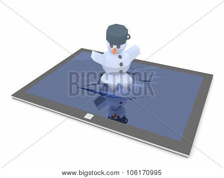 Snowman Fall Through Display Of Tablet