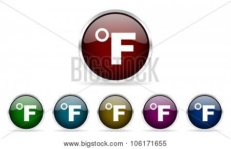 fahrenheit colorful glossy circle web icons set