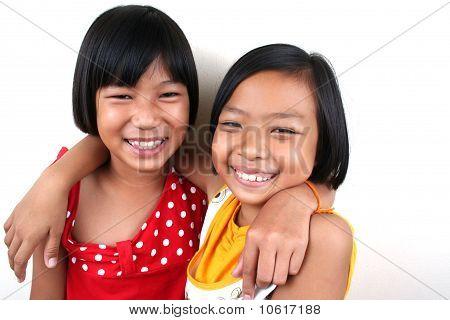 Portrait of happy girls.