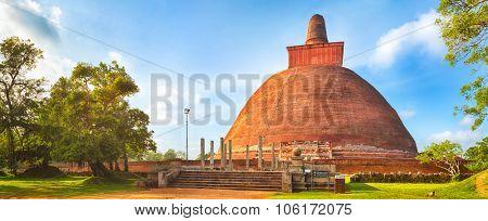 Jetavanaramaya dagoba in the ruins of Jetavana in the sacred world heritage city of Anuradhapura, Sri Lanka. Panorama