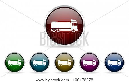 truck colorful glossy circle web icons set