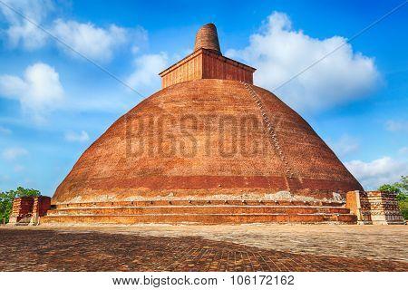 Jetavanaramaya dagoba in the ruins of Jetavana in the sacred world heritage city of Anuradhapura, Sri Lanka